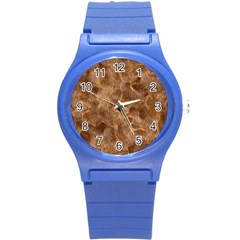 Brown Seamless Animal Fur Pattern Round Plastic Sport Watch (S)