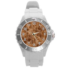 Brown Seamless Animal Fur Pattern Round Plastic Sport Watch (L)