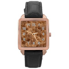 Brown Seamless Animal Fur Pattern Rose Gold Leather Watch
