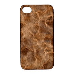 Brown Seamless Animal Fur Pattern Apple iPhone 4/4S Hardshell Case with Stand