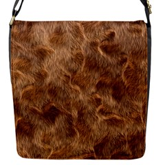 Brown Seamless Animal Fur Pattern Flap Messenger Bag (S)