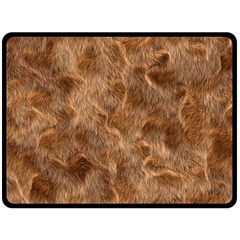 Brown Seamless Animal Fur Pattern Double Sided Fleece Blanket (Large)