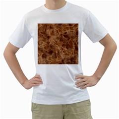 Brown Seamless Animal Fur Pattern Men s T Shirt (white)