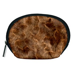 Brown Seamless Animal Fur Pattern Accessory Pouches (Medium)