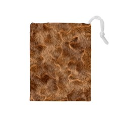 Brown Seamless Animal Fur Pattern Drawstring Pouches (Medium)