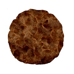 Brown Seamless Animal Fur Pattern Standard 15  Premium Flano Round Cushions