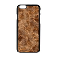 Brown Seamless Animal Fur Pattern Apple iPhone 6/6S Black Enamel Case