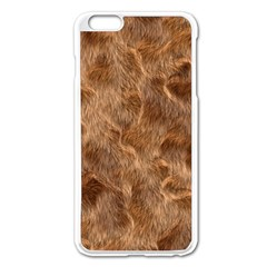 Brown Seamless Animal Fur Pattern Apple Iphone 6 Plus/6s Plus Enamel White Case