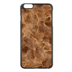 Brown Seamless Animal Fur Pattern Apple iPhone 6 Plus/6S Plus Black Enamel Case