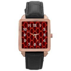 Snake Abstract Pattern Rose Gold Leather Watch
