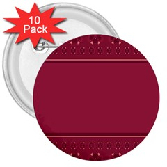 Heart Pattern Background In Dark Pink 3  Buttons (10 Pack)