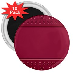 Heart Pattern Background In Dark Pink 3  Magnets (10 pack)