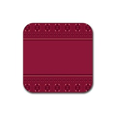 Heart Pattern Background In Dark Pink Rubber Square Coaster (4 Pack)