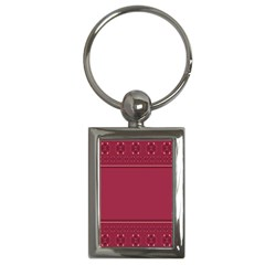 Heart Pattern Background In Dark Pink Key Chains (Rectangle)