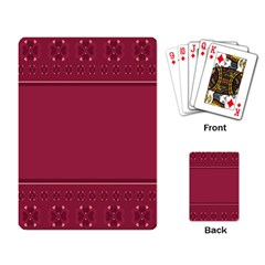 Heart Pattern Background In Dark Pink Playing Card