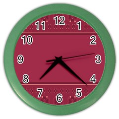 Heart Pattern Background In Dark Pink Color Wall Clocks