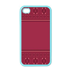 Heart Pattern Background In Dark Pink Apple Iphone 4 Case (color)