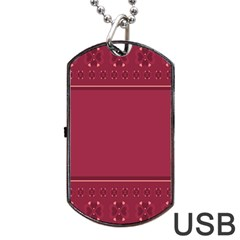 Heart Pattern Background In Dark Pink Dog Tag USB Flash (Two Sides)