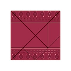 Heart Pattern Background In Dark Pink Acrylic Tangram Puzzle (4  x 4 )
