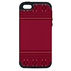 Heart Pattern Background In Dark Pink Apple Iphone 5 Hardshell Case (pc+silicone)