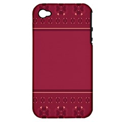 Heart Pattern Background In Dark Pink Apple iPhone 4/4S Hardshell Case (PC+Silicone)