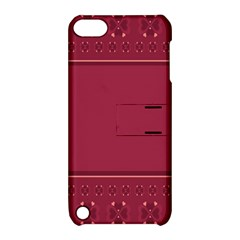 Heart Pattern Background In Dark Pink Apple iPod Touch 5 Hardshell Case with Stand