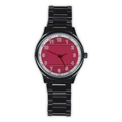 Heart Pattern Background In Dark Pink Stainless Steel Round Watch