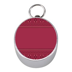Heart Pattern Background In Dark Pink Mini Silver Compasses