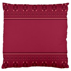 Heart Pattern Background In Dark Pink Large Flano Cushion Case (Two Sides)