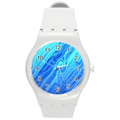 Vintage Pattern Background Wallpaper Round Plastic Sport Watch (m)
