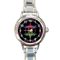 Drawing Of A Color Mandala On Black Round Italian Charm Watch