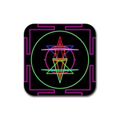 Drawing Of A Color Mandala On Black Rubber Coaster (square)