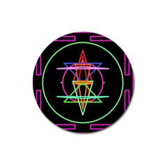 Drawing Of A Color Mandala On Black Magnet 3  (Round)