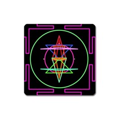 Drawing Of A Color Mandala On Black Square Magnet
