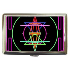 Drawing Of A Color Mandala On Black Cigarette Money Cases