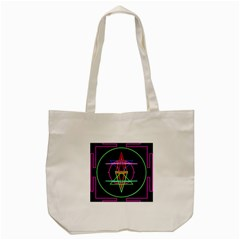 Drawing Of A Color Mandala On Black Tote Bag (Cream)