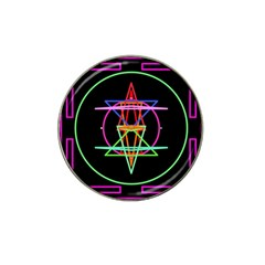 Drawing Of A Color Mandala On Black Hat Clip Ball Marker (4 pack)