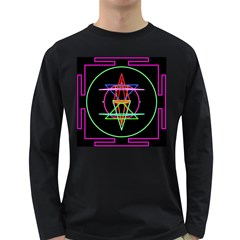 Drawing Of A Color Mandala On Black Long Sleeve Dark T Shirts