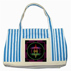 Drawing Of A Color Mandala On Black Striped Blue Tote Bag