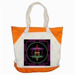 Drawing Of A Color Mandala On Black Accent Tote Bag