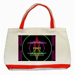Drawing Of A Color Mandala On Black Classic Tote Bag (Red)