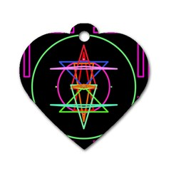 Drawing Of A Color Mandala On Black Dog Tag Heart (two Sides)