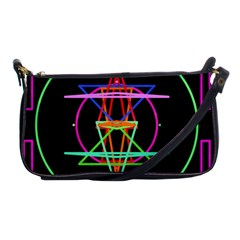 Drawing Of A Color Mandala On Black Shoulder Clutch Bags
