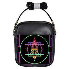 Drawing Of A Color Mandala On Black Girls Sling Bags