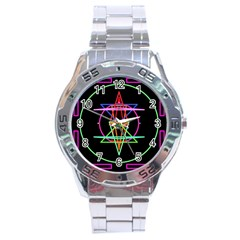 Drawing Of A Color Mandala On Black Stainless Steel Analogue Watch