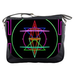 Drawing Of A Color Mandala On Black Messenger Bags