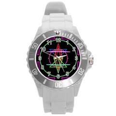 Drawing Of A Color Mandala On Black Round Plastic Sport Watch (L)