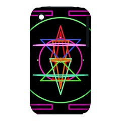 Drawing Of A Color Mandala On Black iPhone 3S/3GS