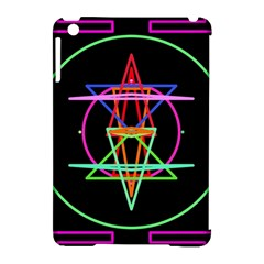 Drawing Of A Color Mandala On Black Apple iPad Mini Hardshell Case (Compatible with Smart Cover)