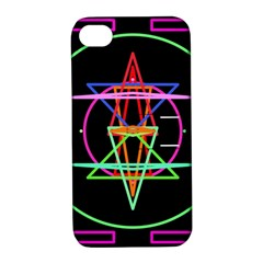 Drawing Of A Color Mandala On Black Apple iPhone 4/4S Hardshell Case with Stand